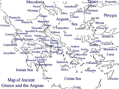 Map of Ancient Greece and the Aegean