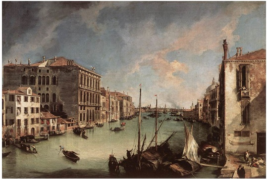 Painting of Grand Canal, Looking East from the Campo San Vio (1723-24) by Canaletto